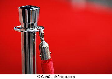 vermelho, segurança, corda, por, tapete vermelho, close-up,...