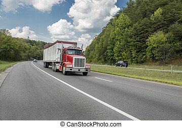 vermelho, semi caminhão, com, espaço cópia