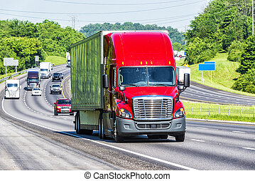 vermelho, semi caminhão, ligado, rodovia interestadual