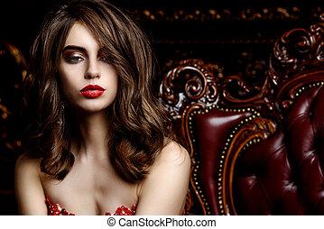 vermelho, sensual, lábios