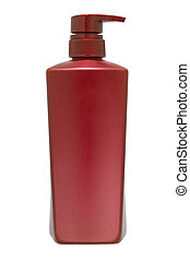 vermelho, shampoo, garrafa, com, bomba