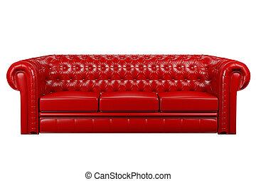 vermelho, sofá couro, 3d
