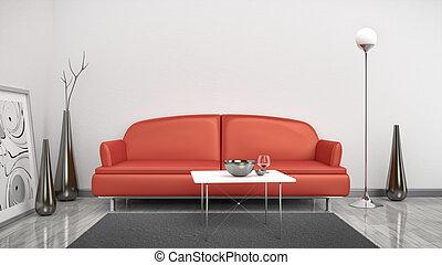 vermelho, sofá, em, um, quarto branco