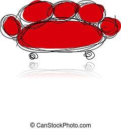 vermelho, sofá, esboço, para, seu, desenho