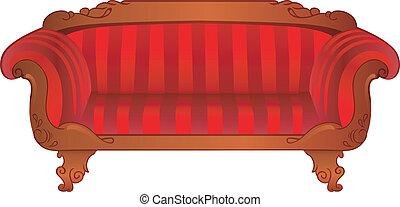 vermelho, sofá, isolado, branco