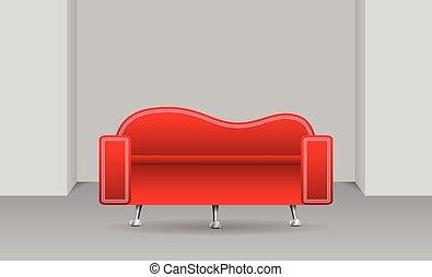 vermelho, sofá, um quarto