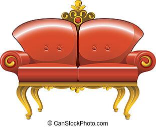 vermelho, sofá, vindima