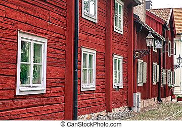 vermelho, suécia, típico, casas