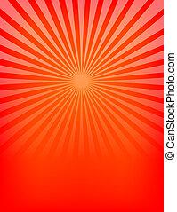 vermelho, sunburst, padrão