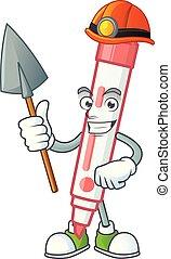 vermelho, tábua, branca, mineiro, personagem, marcador