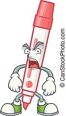 vermelho, tábua, branca, zangado, personagem, marcador