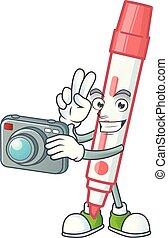 vermelho, tábua, fotógrafo, branca, personagem, marcador