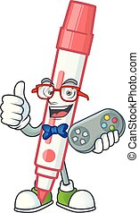 vermelho, tábua, gamer, branca, personagem, marcador
