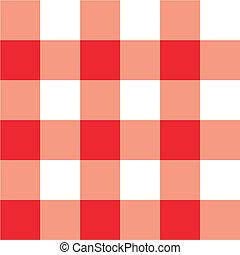 vermelho, tabela piquenique, pano, xadrez