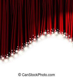 vermelho, teatro, cortina