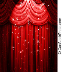 vermelho, teatro, cortina, com, holofote