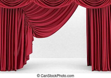 vermelho, teatro, cortina, fundo