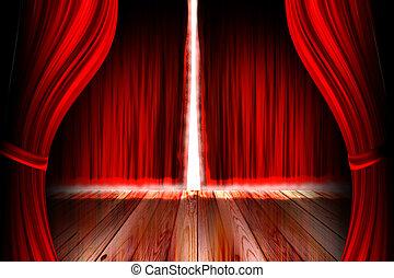 vermelho, teatro, fase, com, cortina