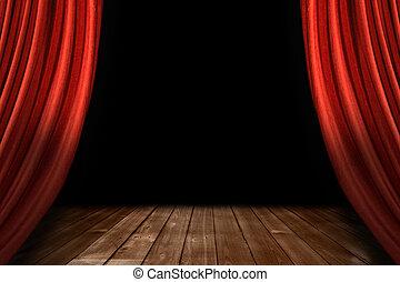 vermelho, teatro, fase, cortinas, com, chão madeira