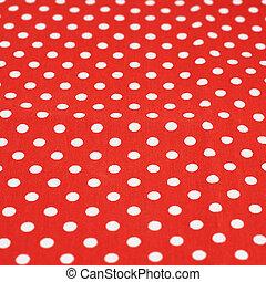 vermelho, tecido, com, a, branca, pontos polka