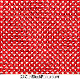 vermelho, tecido, com, branca, estrelas
