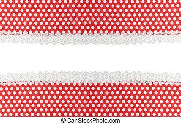 vermelho, tecido, com, branca, pontos, e, renda