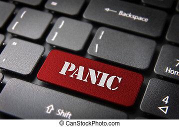 vermelho, teclado, tecla, botão pânico, estado, fundo