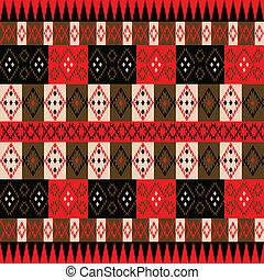vermelho, textura, étnico