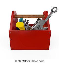 vermelho, toolbox, com, tools., sckrewdriver, martelo, serrote, e, wrench., construção, manutenção, dificuldade, reparar, prêmio, service., alto, qualidade, render, isolated.