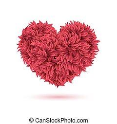 vermelho, tradicional, coração, feito, de, folhas, para, seu, valentine, design.