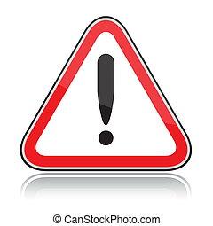 vermelho, triangular, outro, perigos, sinal aviso, branco