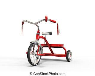 vermelho, triciclo, -, tiro estúdio