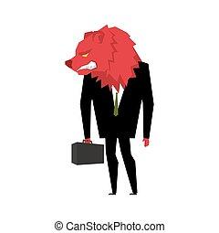 vermelho, urso, businessman., jogador, ligado, a, bolsa de valores, com, ursos, head., mau, animal selvagem, com, pasta, e, tie., besta, em, negócio, suit., metáfora, comerciante, em, financeiro, câmbio