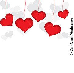 vermelho, valentine, dia, coração, experiência., vetorial,...