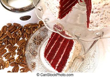 vermelho, veludo, bolo, e, pecans