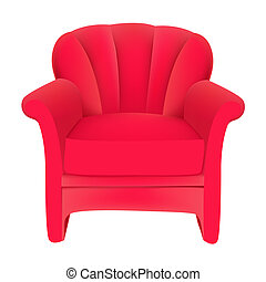 vermelho, veludo, cadeira fácil, branco, fundo