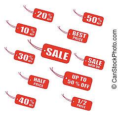vermelho, venda, etiquetas