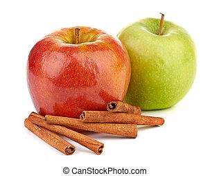 vermelho verde, maçãs, varas canela