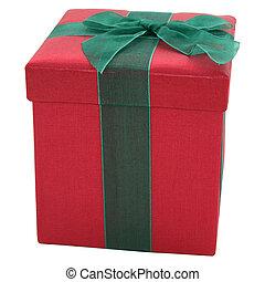 vermelho verde, tecido, caixa presente