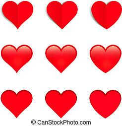 vermelho, vetorial, corações, isolado, branco, fundo