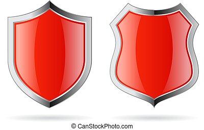 vermelho, vetorial, escudo, vidro, ícone