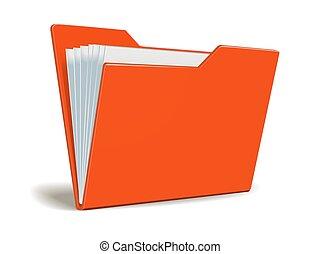 vermelho, vetorial, pasta, com, documentos