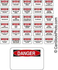 vermelho, vetorial, perigo, sinais