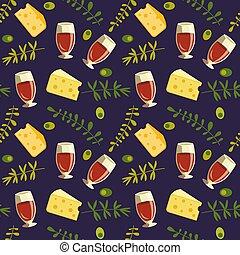 vermelho, vidro, seamless, apartamento, padrão, vetorial, queijo, vinho