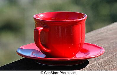 vermelho, xícara café