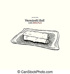Vermicelli Roll with BBQ pork.