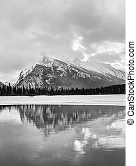 Vermilion Lakes in the Canadian Rockies of Banff National Park During Winter