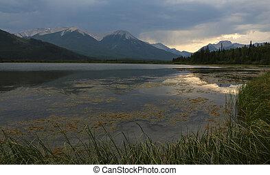 Vermilion Lakes Sunset Reflection
