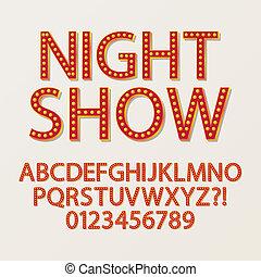 vermilliom, alfabeto, sombra, broadway