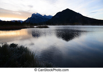 Vermillion Lake and Mount Rundle in Autumn Morning, Canadian...
